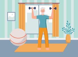 Ein älterer Mann treibt zu Hause Sport. Das Konzept von aktivem Alter, Sport und Yoga. Tag der älteren Menschen. flache Karikaturvektorillustration.