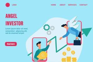 Engel Investor Landing Page Vektor Vorlage. das Konzept eines Business Angels. Hilfe für ein Startup, einen jungen Geschäftsmann. finanzielle Unterstützung für junge Unternehmen. flache Karikaturvektorillustration.