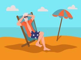 älterer Mann, der sich am Strand sonnen. Das Konzept des aktiven Alters. Tag der älteren Menschen. flache Karikaturvektorillustration.