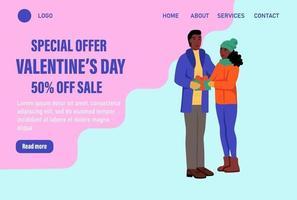 Sonderangebot Valentinstag Landing Page Vektor Vorlage. Liebespaar in Winterkleidung mit Luftballons tauschen Geschenke aus. Feiern Sie das traditionelle Web-Banner für Winterereignisse. flache Vektorillustration