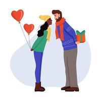 Ein junger Mann und eine Frau in Winterkleidung mit Luftballons und Geschenken in den Händen. Ein verliebtes Paar küsst sich. flache Karikaturvektorillustration. Valentinstag