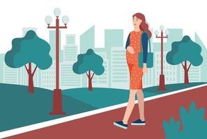 Eine junge schwangere Frau geht in den Park und die Straße entlang. das Konzept der alltäglichen Aktivitäten und des täglichen Lebens. flache Karikaturvektorillustration.