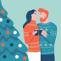 Weihnachtskarte. verliebtes Paar, das auf dem Hintergrund des Weihnachtsbaumes umarmt. flache Vektorillustration. Banner, Poster, Vorlage.