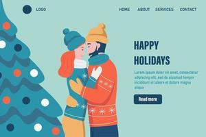 Frohe Weihnachten Feiertage Landing Page Vektor Vorlage. Liebespaar umarmt sich in der Nähe des Weihnachtsbaumes und feiert Weihnachten. Feiern Sie das traditionelle Web-Banner für Winterereignisse. flache Vektorillustration