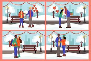 uppsättning. par utbyter gåvor och kysser i en vinterpark. en ung man och kvinna firar alla hjärtans dag. platt vektorillustration.