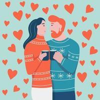 Alla hjärtans dagskort. par i kärlek kramar. en man med rött skägg och en kvinna med mörkt hår skrattar och ser på varandra. platt vektorillustration.