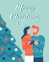 Weihnachtskarte. ein paar umarmungen neben einem weihnachtsbaum. Schriftzug Frohe Weihnachten. Vektorillustration. Banner, Poster, Vorlage.