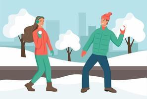 Winterspaß. ein paar junge Leute, die Schneebälle in einem Winterpark spielen. Datum, Wochenende, Urlaub. flache Vektorillustration