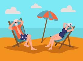 älteres Ehepaar, das am Strand ein Sonnenbad nimmt. Das Konzept des aktiven Alters. Tag der älteren Menschen. flache Karikaturvektorillustration.
