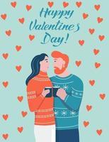 Alla hjärtans dag bokstäver kort. par i kärlek kramar. en man med rött skägg och en kvinna med mörkt hår skrattar och ser på varandra. platt vektorillustration.