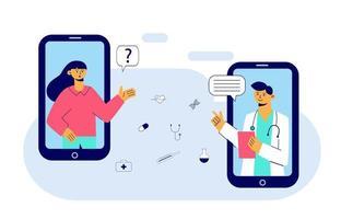 Konzept der Online-Medizin und Gesundheitsanwendung für Website. medizinische Diagnostik über das Internet. Doktor Videoanruf auf einem Smartphone. Online-ärztliche Beratung. flache Vektorillustration