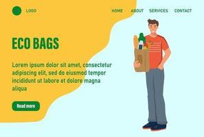 Ein Mann hält eine Tüte mit Landingpage für Lebensmittel. Konzept des Recyclings, der Ökologie, der Naturpflege. Website Homepage Landing Webseite template.vector Illustration
