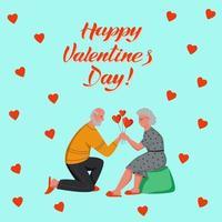 Alla hjärtans gratulationskort. bokstäver glad Alla hjärtans dag. pensionärer firar och ger gåvor hemma. platt tecknad vektorillustration vektor
