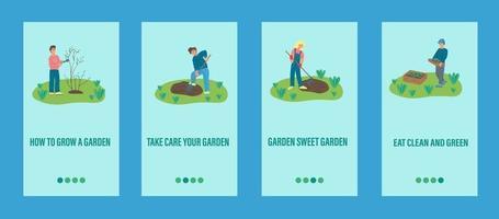 trädgårdsarbete mobil app mall. människor arbetar med trädgårdsskötsel, plantering av träd och växter. platt vektorillustration.