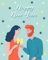 Weihnachtskarte. Das Paar trinkt Champagner. Schriftzug frohes neues Jahr. Vektorillustration. Banner, Poster, Vorlage.