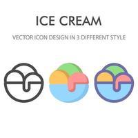 Eiscreme-Symbolpackung lokalisiert auf weißem Hintergrund. für Ihr Website-Design, Logo, App, UI. Vektorgrafiken Illustration und bearbeitbarer Strich. eps 10. vektor