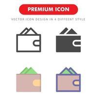 plånbok ikon pack isolerad på vit bakgrund. för din webbdesign, logotyp, app, ui. vektorgrafikillustration och redigerbar stroke. eps 10.