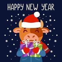 tjuren håller gåvor. symbolen för kinesiska nyåret 2021. gratulationskort med oxe. vektorillustration med söt karaktär isolerad bakgrund. handritad bokstäver. vektor
