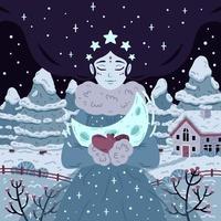 prinsessa av stjärnklar vinternatt med halvmåne. vacker kvinna med långt hår på bakgrund med träd och hus. vektorillustration för affisch, gratulationskort. bild för barn sagobok. vektor