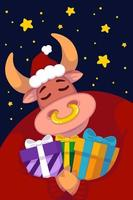 Stier in einer Weihnachtsmütze und einem roten Pullover mit Geschenken vor dem Hintergrund des Sternenhimmels. Jahr des Ochsen. glückliche Kuh. Neujahr und frohe Weihnachten Illustration. chinesisches Sternzeichen des Jahres 2021. vektor
