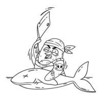 galen piratpingvin skär en haj med en klyfta. laga mat på fartyget och laga fisk. rolig fågel vektorillustration isolerad på vit bakgrund i doodle stil. bild för målarbok. vektor