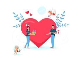 romantisches Konzept der Valentinstag-Datierungs-Geschenkkarte. Liebesbeziehung zwei Personen. Paar, das Geschenkbox gibt. vektor