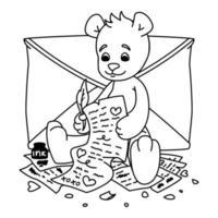 Teddybär schreibt einen Liebesbrief. Valentinstag Grußkarte mit Herzen und Umschlag. Druck für Kinder Malbuch. Vektor-Umrissillustration lokalisiert auf weißem Hintergrund. vektor