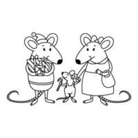 jul råtta familj. pappa med gåvor, mamma håller ett barn vid handen, en liten pojke med godisrotting. lyckliga kinesiska nyårsmöss. vektor kontur illustration för målarbok.