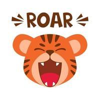 flache süße Tiger offenes Mundgebrüll. trendiger skandinavischer Stil. Cartoon Tier Charakter Vektor-Illustration isoliert auf Hintergrund. Druck für Kinderbekleidung, Kinderzimmerdekoration, Poster, lustige Avatare. vektor
