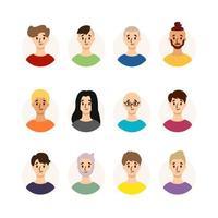 Satz von Männern mit verschiedenen Frisuren, Haarfarbe und Alter. Sammlung männlicher Avatare. Vektorillustration lokalisiert auf weißem Hintergrund. flacher Stil. vektor