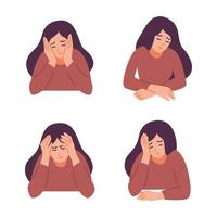en kvinna har huvudvärk. flicka känner ångest och depression. psykologiska hälsokoncept. nervös, apati, sorg, sorg, olycklig, desperat, migrän. platt vektorillustration. vektor