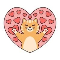katt i hjärtan. gratulationskort för alla hjärtans dag, födelsedag, mors dag. tecknad djur karaktär vektorillustration isolerad på vit bakgrund. doodle tecknad stil. vektor