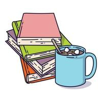 bokhög och en kopp kakao med marshmallows. Jag älskar att läsa koncept för bibliotek, bokaffärer, festivaler, mässor och skolor. vektorillustration isolerad på vitt. vektor
