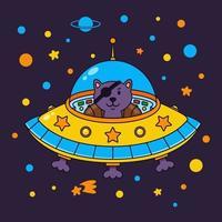 Alienkatze Pirat in einem Raumschiff in einer Sterngalaxie. niedliche Kosmonautenkatze im Weltraum. Vektorillustration auf dem Raumthema im kindlichen Stil. vektor