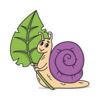 Schnecke hält ein Blatt. Vektor niedliche Illustration lokalisiert auf weißem Hintergrund. Kinderillustration von schönen Schnecken mit Schale.