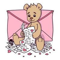 nallebjörn skriver ett kärleksbrev. Alla hjärtans gratulationskort med hjärtan och kuvert. tryck för barninbjudningar, hälsningsvykort. vektorillustration isolerad på vit bakgrund. vektor