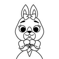 kanin med en båge på huvudet i en klänning med glass. dispositionsutskrift för målarbok och sida. tecknad djur karaktär vektorillustration solated på vit bakgrund. vektor