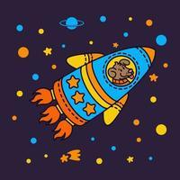 Hund in einem Raketenraumschiff. Sterngalaxie. niedlicher Kosmonautenhund im Weltraum. Vektorillustration auf dem Raumthema im kindlichen Stil. vektor