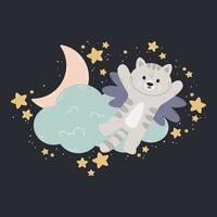 Katze mit Flügeln fliegt an der Wolke, dem Mond und den Sternen vorbei. dunkler Hintergrund. Vektordruck für Babyzimmer, Grußkarte, Kinder- und Baby-T-Shirts und Kleidung, Frau schwören. Gute Nacht Kindergarten Illustration. vektor