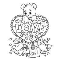 alla hjärtans gratulationskort med nallebjörn med klippbok hjärta. 14 februari gratulationskort med hjärtan. vektorillustration isolerad på vit bakgrund. skriv ut för målarbok. vektor