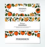 uppsättning handritad färgrik persimmon horisontell design. vektorillustration i färgad skissstil. vektor