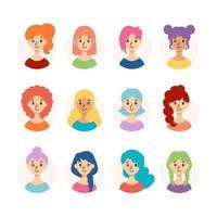 uppsättning vackra kvinnor med olika frisyrer och hårfärg. samling av söta tjejer avatarer. vektorillustration isolerad på vit bakgrund. platt stil. vektor