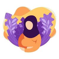 schwangere muslimische Frau berührt Bauch. Dame im Hijab erwartet Kind streichelt ihren Bauch. zukünftige Mutter. Gesundheit, Pflege, Mutterschaft Elternschaft. Vektorillustration auf weißem Hintergrund im trendigen flachen Stil.