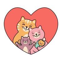 Katzenfamilie Mutter, Vater, Kind und Neugeborenes umarmen sich im Herzen. Grußkarten für Valentinstag, Geburtstag, Muttertag. Cartoon Gekritzel Charakter Vektor-Illustration isoliert auf weißem Hintergrund. vektor