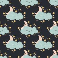 sömlösa mönster med månen, stjärnor, moln på en mörk bakgrund. vektor tryck för baby rum, gratulationskort, barn och baby t-shirts och kläder, kvinnor bär. god natt, söta drömmar plantskola illustration.