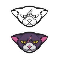 arg katt med ett ärr i pannan. griniga fittor. vektor illustration för logotyp, t-shirt design.