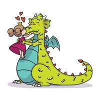 liten prinsessa kysser en drake i näsan. saga barn illustration. glad Alla hjärtans dagskort. vektor