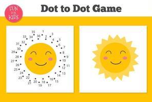 Punkt zu Punkt glückliches Sonnenspiel für Kinder nach Hause schulen. Malvorlage für Kindererziehung. vektor