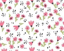 nahtloses Muster mit niedlichen Blumen. handgezeichnetes Sommerflora-Textil vektor