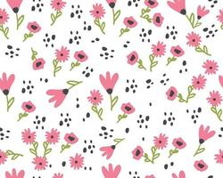 sömlösa mönster med söta blommor. handritad sommarflora textil vektor